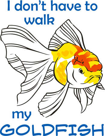 Beautiful goldfish are nice in ponds or aquariums. Ilustracja