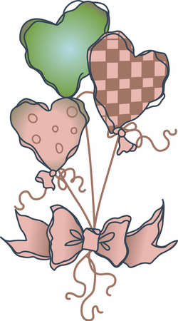 riband: A bouquet of balloons is a great valentine gift. Illustration