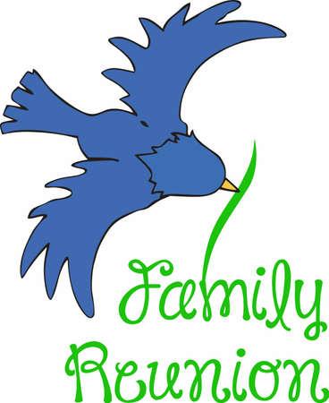 Bird watchers will enjoy this bluebird at a family reunion. Illustration