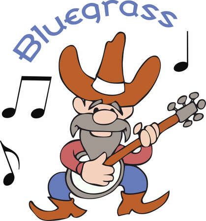 bluegrass: Play some bluegrass  country music with this cartoon cowboy.  A fun design thats sure to bring a smile from Great Notions! Illustration