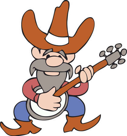 redneck: Play some bluegrass  country music with this cartoon cowboy.  A fun design thats sure to bring a smile from Great Notions! Illustration