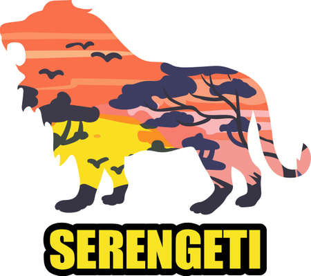 serengeti: A lion silhouette with an African scene will look great on a nature lovers project.