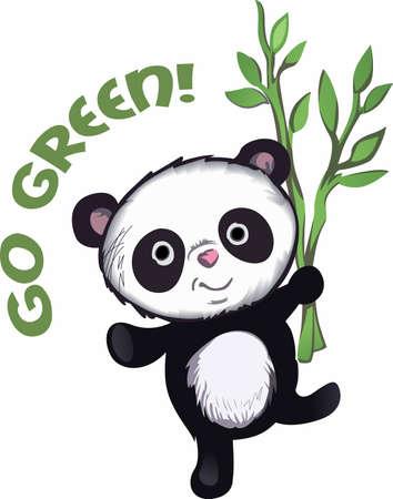 madre tierra: Muestre su amor a la madre tierra. Enviar esta panda adorable a alguien que usted conoce que necesitan recordar lo que pueden hacer para ayudar al medio ambiente. Se les va a encantar! Vectores