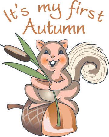 cattail: A cute squirrel is a fun autumn decor.