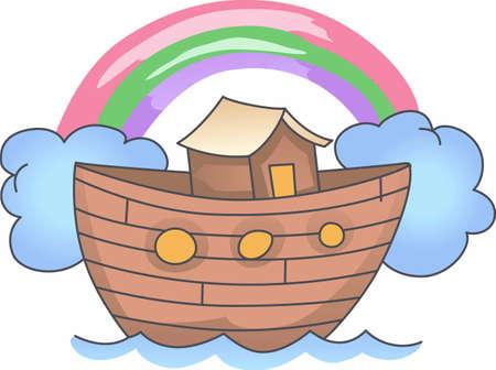 Add a cute Noahs ark to any nursery decor. Illustration