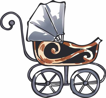 perambulator: A lovely vintage style baby carriage strolling along visiting with neighbors. A special design from Great Notions.