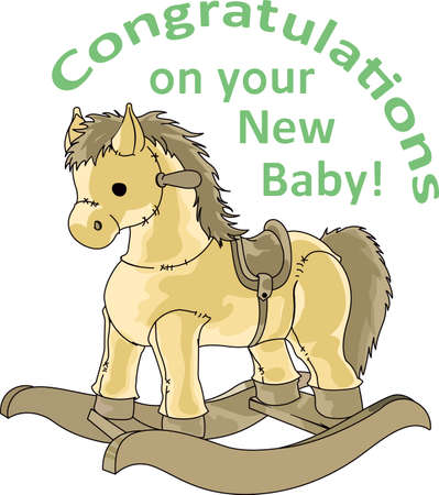 hobby horse: Planning a baby shower will not be complete without this adorable design.  Add it to your favorite items for party favors.  They will love it! Illustration