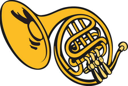 french horn: This French horn design is perfect for your band student.   Illustration