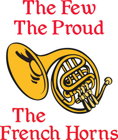 marching band: This French horn design is perfect for your band student.   Illustration