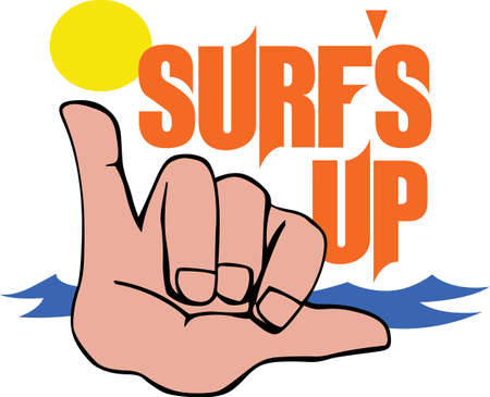 finger signals: Flash this sign for a good time surfing.