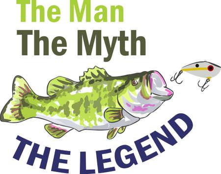 bass fish: Fishermen will love a nice bass fish.  Illustration