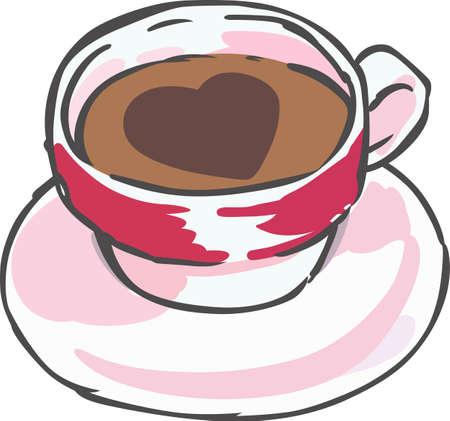 Zet een lekker kopje koffie op een theedoek. Stock Illustratie