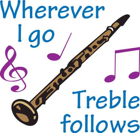 clarinete: Este diseño clarinete es perfecto para su estudiante de la banda.