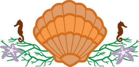 Ein Strandtuch oder eine Tasche mit einer Muschel Dekoration wunderbar aussehen. Standard-Bild - 45293191