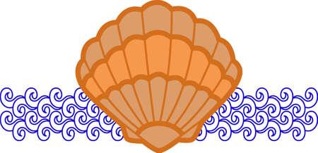 Ein Strandtuch oder eine Tasche mit einer Muschel Dekoration wunderbar aussehen. Standard-Bild - 45293187