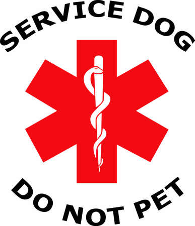 service dog: Use a nice sign to let people know not to disturb a service dog.