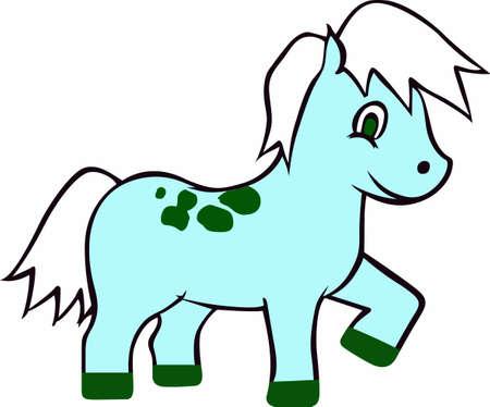 filly: Children love little cute ponies. Illustration
