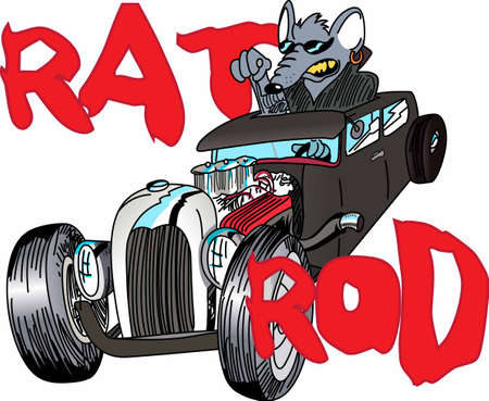 rat race: Hot rod racers will love a funny rat in a car.