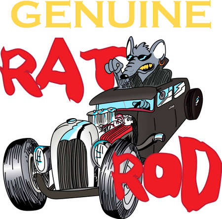 핫로드 레이서는 자동차에서 재미있는 쥐를 좋아할 것입니다. 일러스트