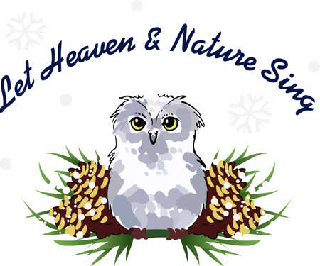 pine boughs: A beautiful owl is a great seasonal decoration.