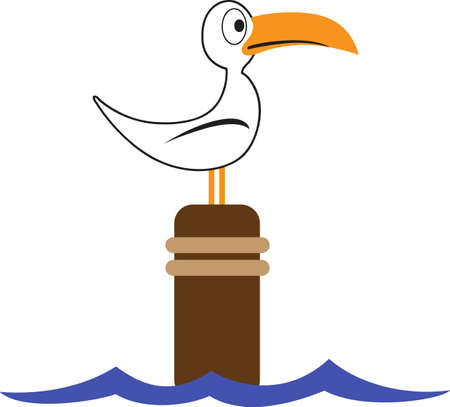 water bird: A seabird is a summer time beach friend for any project. Illustration