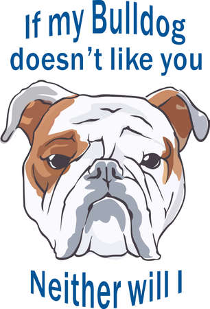 A cute bulldog will be a nice friend for any dog lover. Stock Illustratie
