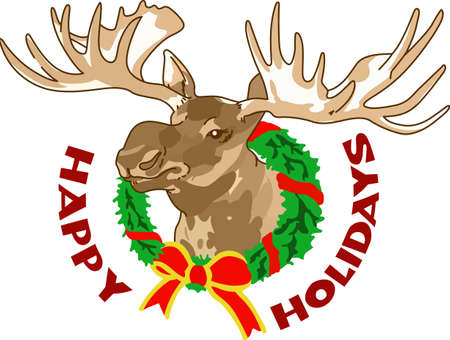 Decorate for a the holidays with a Christmas moose. Banco de Imagens - 45297014