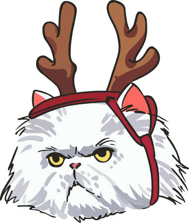 wiedererkennen: Cat owners will recognize and appreciate the attitude of a kitty dressed up for the holidays. Illustration