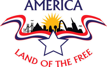 american city: Be patriotic with and American city theme design.