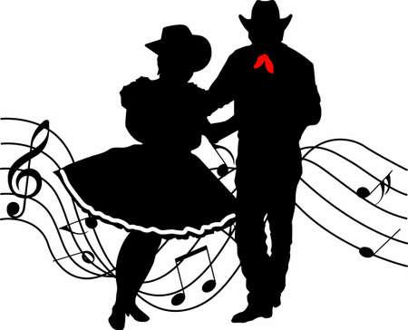 スクエア ダンスと音楽の完璧な国のシルエット。