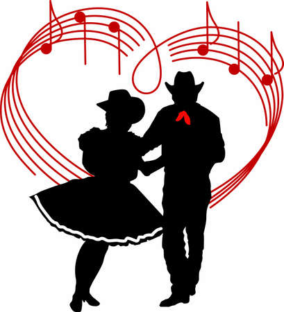 The perfect country silhouette of square dancing and music.    Çizim