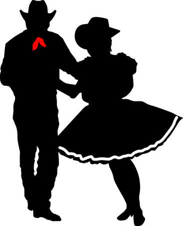 square dancing: The perfect country silhouette of square dancing and music.