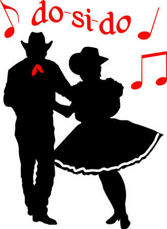 The perfect country silhouette of square dancing and music.    Stock Illustratie