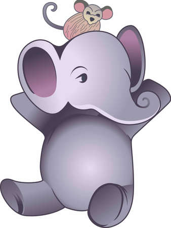pachyderm: This adorable elephant and monkey is a cute design for babys nursery. Illustration