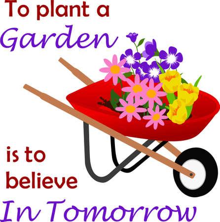 Embellish your favorite gardener's smock or shirt with this spring design