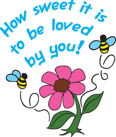 Little bees and flowers make a beautiful project. Ilustracja