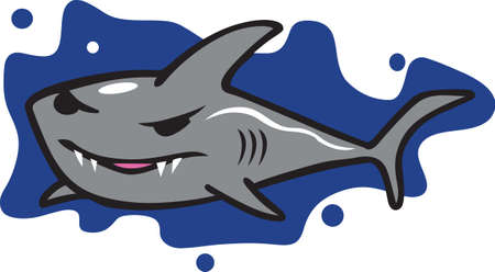 pectoral: This fun shark will make a great beach design. Illustration