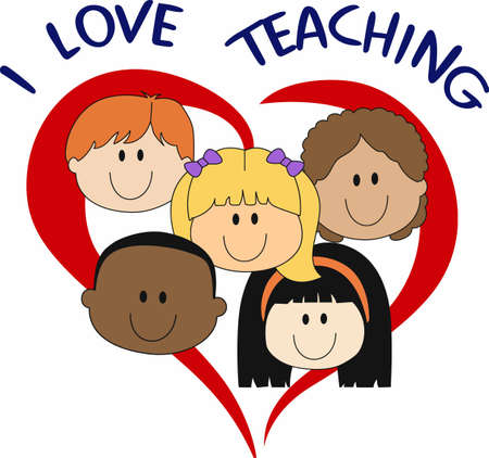Teachers love their students.  Let them show their love with these kids. 向量圖像