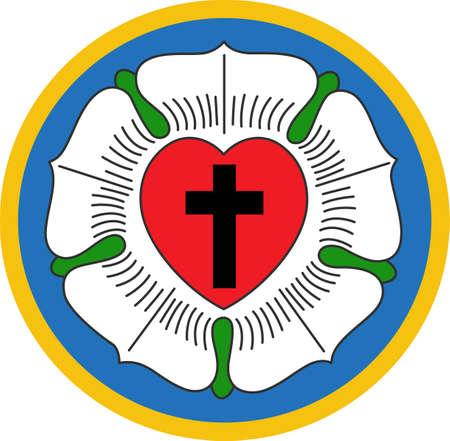 이것은 십자가와 루터 란 로즈를 상징하는 꽃의 아름다운 조합입니다. 위대한 개념에서 이러한 디자인을 선택하십시오.