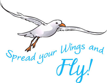 spread wings: Take a break from your explorations. Spread wings and flying seagull. Illustration