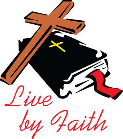 Dit is een mooie combinatie van een kruis en de Bijbel. Pick deze ontwerpen van Great Notions.