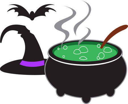 A witch cauldron is the perfect decoration for Halloween.
