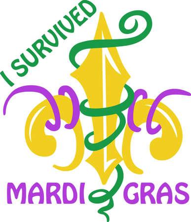 Celebrate Mardi Gras with confetti and a Fleur de Lis.
