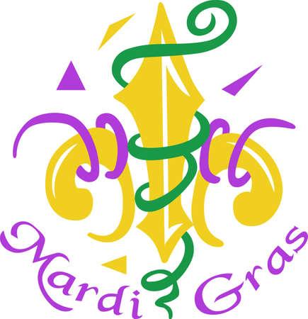 orleans symbol: Celebrate Mardi Gras with confetti and a Fleur de Lis.