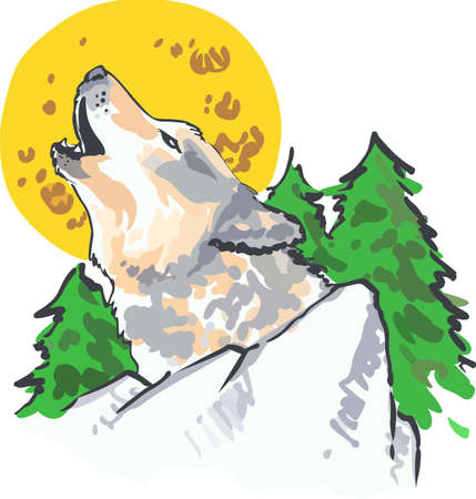 howl: Bring out the animal in you with a beautiful wolf howl. Illustration
