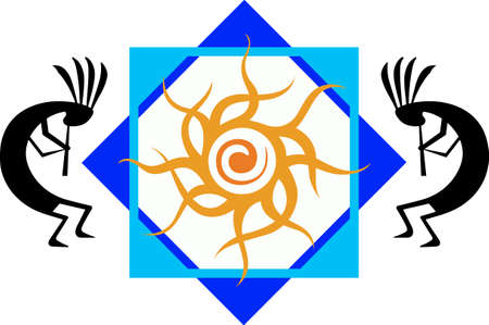 southwestern: This beautiful tribal design features the sun Hopi.  A beautiful addition to a hat or shirt.  Get these designs from Great Notions.