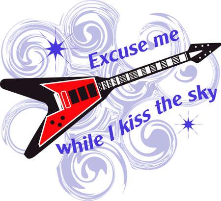 실례합니다. 기타와 위대한 관념에서 나온이 디자인으로 하늘에 키스하는 동안.