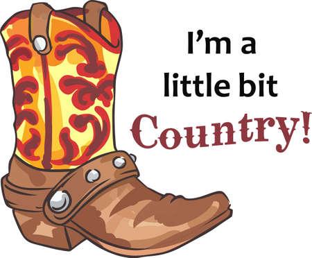All cowboys love a great western boot. Иллюстрация