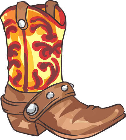 riding boot: All cowboys love a great western boot. Illustration