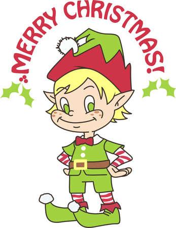 fictional character: A cute little elf make a fun holiday design.